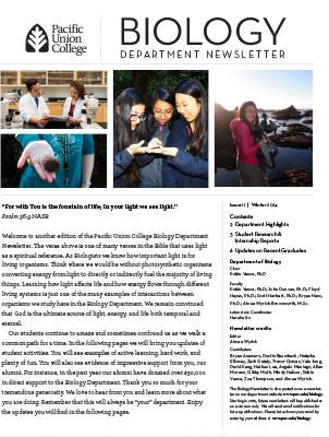 Biology Newsletter - Winter 2014