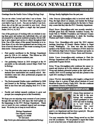 Biology Newsletter - Winter 2011