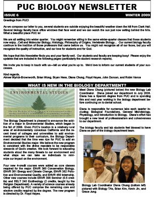 Biology Newsletter - Winter 2009