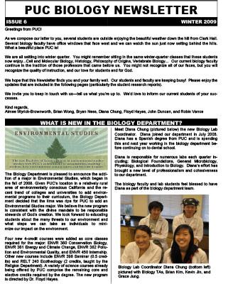 Biology Newsletter - Winter 2009